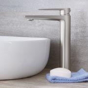 Hohe Einhebel Waschtischarmatur Modern in gebürstetem Nickel - Harting