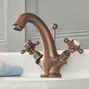 Elizabeth - Traditionelle Einloch Waschtisch-Mischbatterie mit Kreuzgriffen - Geölte Bronze
