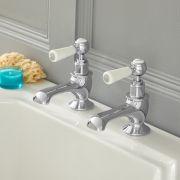 Elizabeth - Traditionelle 2-Loch Kalt-Warm Badewannenhähne mit Hebelgriffen - Chrom und Weiß