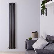 Design Heizkörper Vertikal Einlagig Schwarz 1600mm x 236mm 561W - Revive Slim