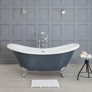 Elton 1750x730mm Doppelseitige Freistehende Badewanne mit Füßen, Steingrau