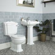 1-Loch Säulenwaschbecken und Stand-Toilette Set Nostalgisch - Oxford