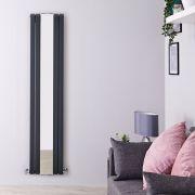 Design Heizkörper Vertikal Doppellagig Anthrazit 1800mm x 381mm 1682W - Sloane