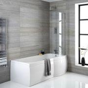P-förmige Badewanne rechtsbündig mit Badewannenaufsatz