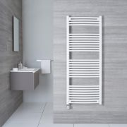 Elektrischer Handtuchheizkörper Gebogen Weiß 1500mm x 600mm inkl. ein 1000W Heizelement - Etna