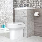 2-in-1 Waschbecken mit Unterschrank mit integrierter Toilette Steingrau - Cluo