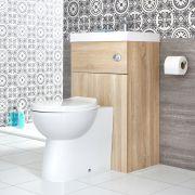 Ovale Toilette mit Spülkasten und integriertem Waschbecken Eiche