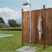 Freistehende Gartendusche mit Handdusche und Regenduschkopf Chrom - Seville