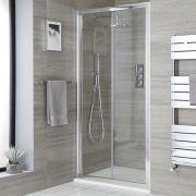 Einbau-Duschkabine mit Falttür, Duschwanne im Schiefer-Effekt, Chromprofil, Größe wählbar - Portland