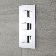 Moderne Triple Duscharmatur mit Funktionswechsler eckige Griffe Unterputz - Arvo