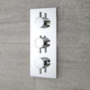 Moderne Triple Duscharmatur runde Griffe Unterputz - Como