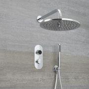 Digitale Dusche für zwei Funktionen, inkl. rundem Duschkopf zur Wandmontage & Brause - Narus