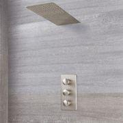 Aldwick Thermostatarmatur mit Wasserfall-Regen-Duschkopf - Gebürstetes Nickel