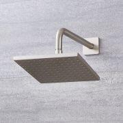 200mm quadratischer Duschkopf mit Wandarm - Gebürstetes Nickel