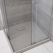 Rockwell -  hellgrau Stein-Optik quadratische Duschwanne 900mm