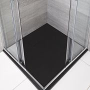 Rockwell -  Graphit Stein-Optik quadratische Duschwanne 900mm