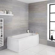 P-förmige Badewanne für die rechte Ecke 1500mm - inkl. Paneele