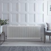 Gliederheizkörper Horizontal 3 Säulen Nostalgie Weiß 600mm x 1505mm 2412W - Regent