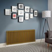 Design Heizkörper Horizontal Traditionell 3 Säulen Metallisches Gold Regent - Größe wählbar