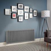 Design Heizkörper Horizontal Traditionell 3 Säulen Metallisches Silber Regent - Größe wählbar