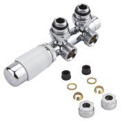 Hahnblock Heizkörperwinkelventil Manuell & thermostatisch Weiß inkl. Multiadapter für 14mm Kupferrohre im Set