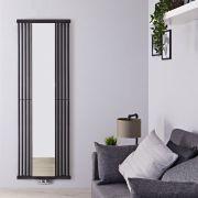 Design Heizkörper mit Spiegel Vertikal Einlagig Schwarz 1700mm x 640mm - Lublin