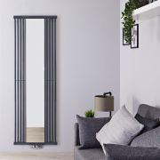 Design Heizkörper mit Spiegel Vertikal Einlagig Steingrau 1900mm x 640mm - Lublin
