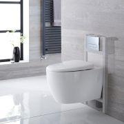 Hänge WC Oval inkl. Unterbauspülkasten 820mm x 400mm und wählbarer Betätigungsplatte - Kenton