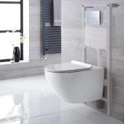Hänge WC Oval mit Unterputzspülkasten & wählbarer Betätigungsplatte - Otterton