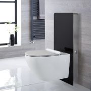 Otterton Wand-WC Randlos inkl. Saru Sanitärmodul H 1000mm Schwarz mit Sensor-Spülung