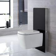 Milton Wand-WC inkl. Saru Sanitärmodul mit Sensor-Spülung H 1000mm Schwarz