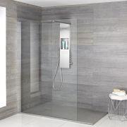 Iko - Komplette Walk-In Dusche mit Duschwanne in grauer Steinoptik & glashaltendem Duschpaneel
