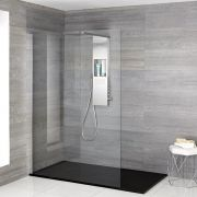 Iko - Komplette Walk-In Dusche mit Duschwanne in Steinoptik & glashaltendem Duschpaneel