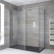 Portland Eck Walk-In Dusche mit Duschtasse in Stein-Optik & Seitenpaneel - Wählbare Größe