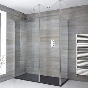 Sera Walk-In Duschkabine mit Duschtasse in Graphit Stein-Optik - Wählbare Größe