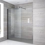 Nox Vertiefte Walk-In Dusche mit Duschtasse in Stein-Optik - Wählbare Größe & Farbe