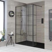 Walk-In Dusche, für eine Nische, Duschwanne im Schieffereffekt, Gittermuster, Größe wählbar - Barq