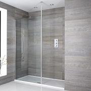 Sera Vertiefte Walk-In Duschabtrennung mit Duschtasse und Seitenpaneel - Wählbare Größe