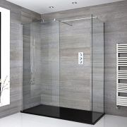 Nox Eck Walk-In Duschkabine mit Duschtasse in Graphit Stein-Optik - Wählbare Größe