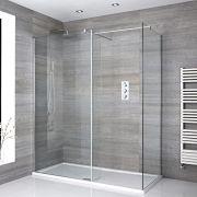 Portland Eck Walk-In Duschkabine mit Duschtasse und Seitenpaneel - Wählbare Größe