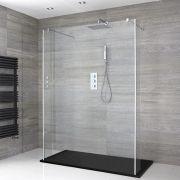 Portland Schwebende Walk-In Dusche mit Graphit Duschtasse & Seitenpaneelen - Wählbare Größe