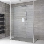 Sera Schwebende Wet-Room Dusche mit Duschtasse in Graphit Stein-Optik - Wählbare Größe