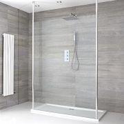 Sera Schwebende Wet-Room Duschabtrennung mit Duschtasse - Wählbare Größe
