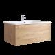 Hudson Reed Newington 800mm Badschrank mit Toilette, Aufbewahrungseinheit und Spiegel - Goldene Eiche