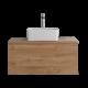 Hudson Reed Newington - 800mm Moderner Badschrank mit rechteckigem Aufsatzbecken - Goldene Eiche