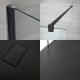 Walk-In Duschwand 1700mm x 900mm inkl. schwarzes Profil & Anthrazit Duschtasse - Nox