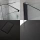 2 Walk-In Duschwände 800mm/ 1000mm inkl. 1700mm x 800mm Anthrazit Duschtasse, Seitenteil & schwarzes Profil - Nox