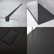 Walk-In Duschwand inkl. 2 schwarze Haltearme & 1200mm x 900mm Anthrazit Duschtasse - Nox