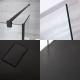 Walk-In Duschwand inkl. 1200mm x 800mm Anthrazit Duschtasse, 2 Seitenteile & schwarzes Profil - Nox