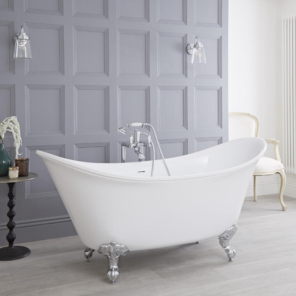 Freistehende Badewanne mit hochgezogenen Enden Oval, versch. Füße